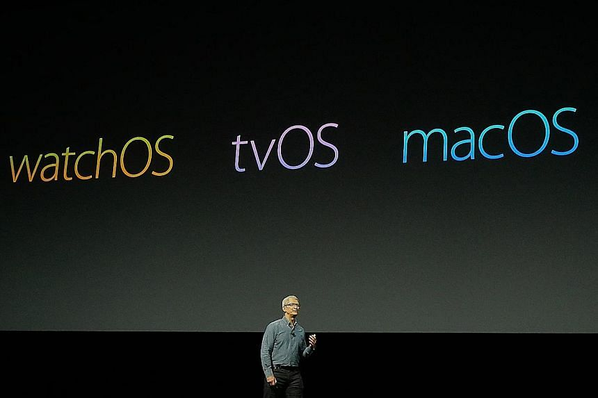 Apple CEO Tim Cook speaking during the keynote address at the company's Worldwide Developer Conference in San Francisco last week.
