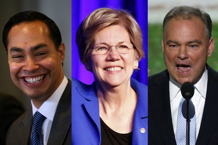 (From left) Housing Secretary Julian Castro, Senators Elizabeth Warren of Massachusetts and Timothy M. Kaine of Virginia are being vetted by Hillary Clinton as potential vice-president candidates.