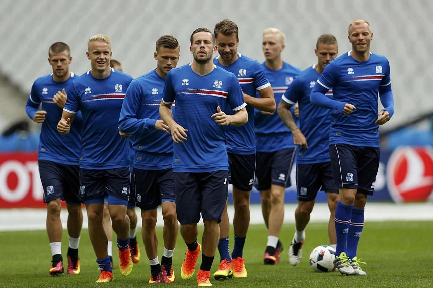 Iceland football players training in Paris, France on June 21.