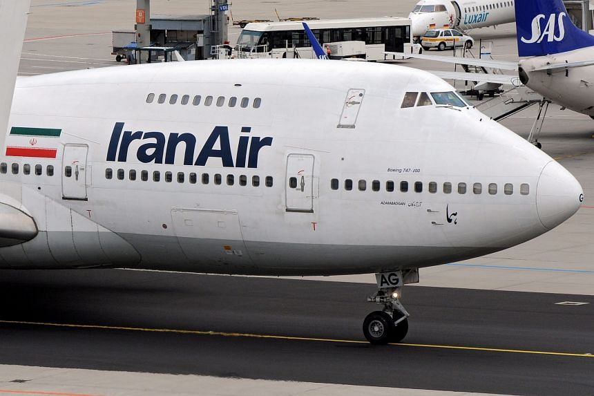 An Iran Air Boeing 747 plane at Frankfurt airport in 2008.