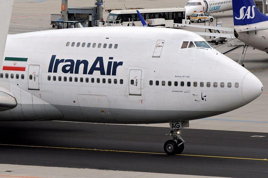 An Iran Air Boeing 747 plane at Frankfurt airport in 2008.