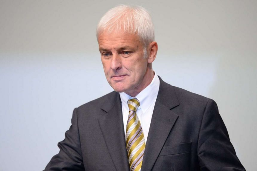 Volkswagen chairman Matthias Mueller speaking to shareholders at the Deutsche Messe AG Exhibition Grounds in Hanover, Germany, on June 22, 2016.