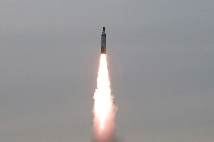 An underwater test-fire of strategic submarine ballistic missile is pictured in this undated photograph released by North Korea's Korean Central News Agency.