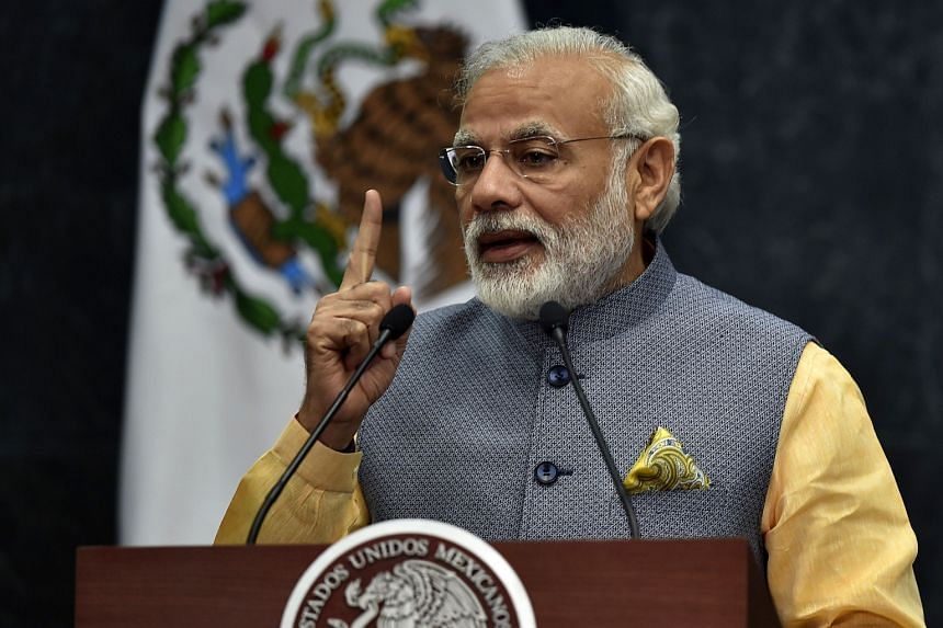 Indian Prime Minister Narendra Modi speaking at the Los Pinos presidential palace in Mexico City on June 8.