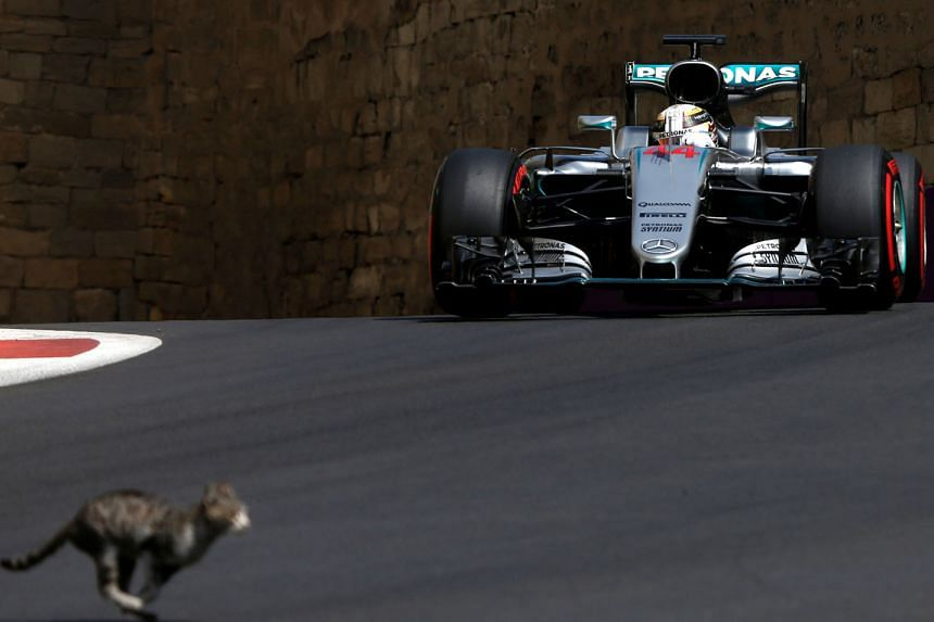 Lewis Hamilton, seen here in action during the third practice session in Baku, cut a frustrated figure during the race as he was unable to sort out his computer issues.