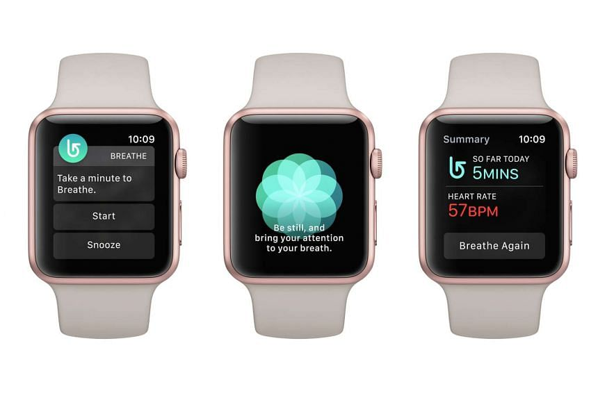 The new Breathe app in watchOS 3 guides you through deep-breathing exercises.