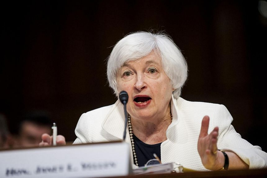 Fed Chair Janet Yellen testifying during a Senate Banking Committee hearing in Washington, DC, on June 21.