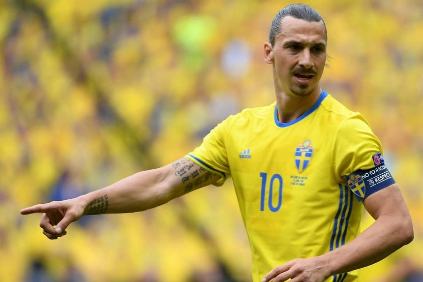 Zlatan Ibrahimovic of Sweden reacts during the Uefa Euro 2016 group E preliminary round match between Ireland and Sweden.