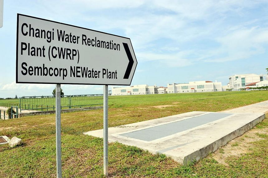 A sign indicating the direction of Changi Water Reclamation Plant.