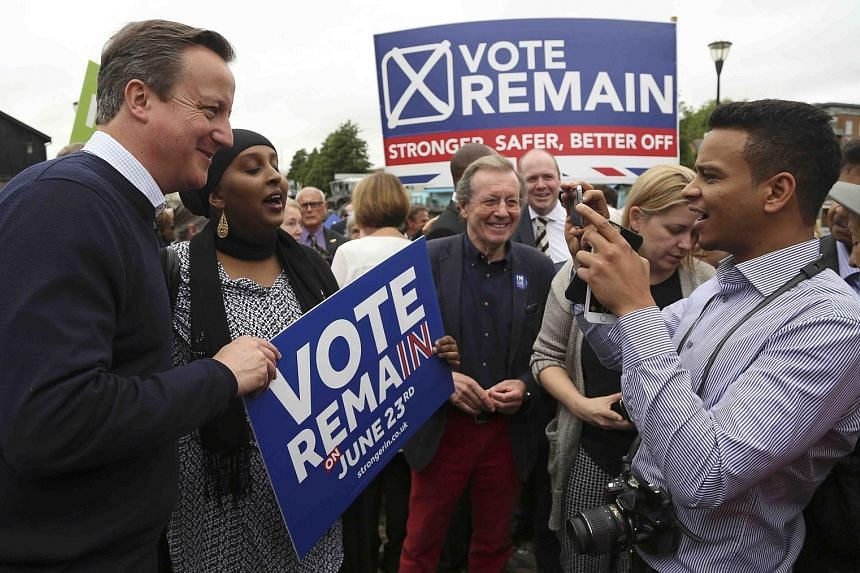 British PM David Cameron (far left) meeting Vote Remain supporters at a rally in Bristol yesterday.