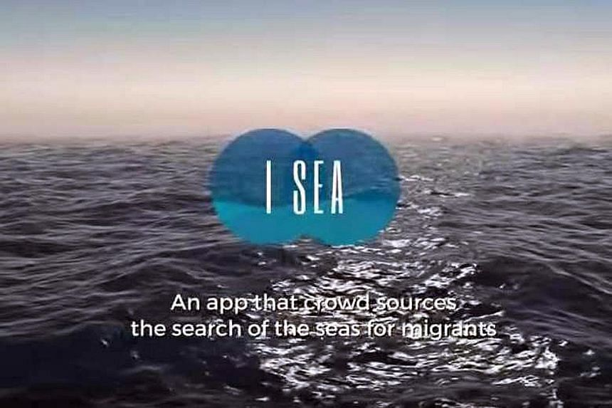 A screengrab from the promotional video for the I SEA app, which claims to be able to locate migrant vessels in the Mediterranean Sea.