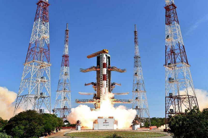 The ISRO rocket, with all its 20 satellites, taking off from the space centre in Andhra Pradesh yesterday.