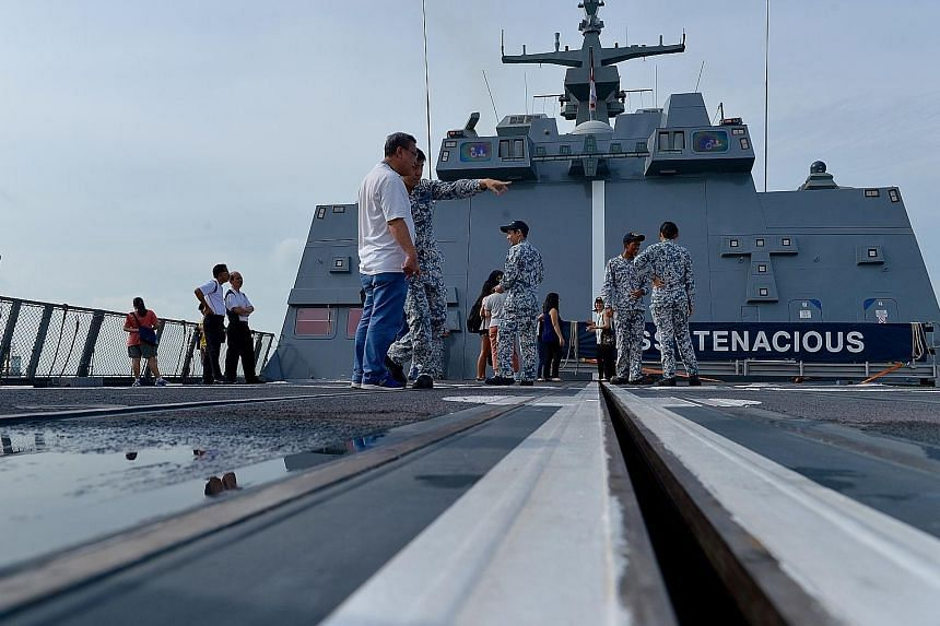 Members of the public will be taken on a tour of the 3,200-ton RSS Tenacious (above), and will be shown the ship's missile deck, flight deck, bridge and living quarters. The stealth frigate, with its on-board Sikorsky S-70B naval helicopter, is docke