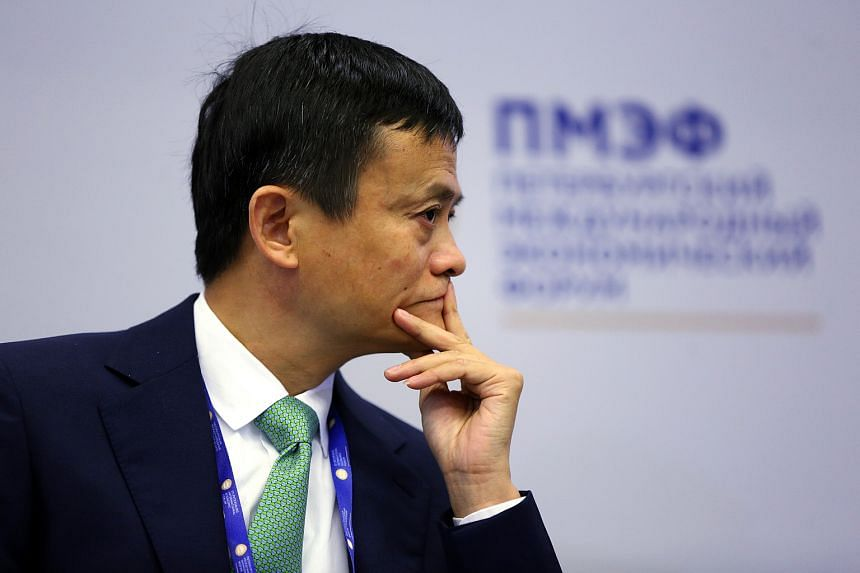 Jack Ma, billionaire and chairman of Alibaba Group Holding Ltd., pauses during a panel session on the opening day of the St. Petersburg International Economic Forum 2016.