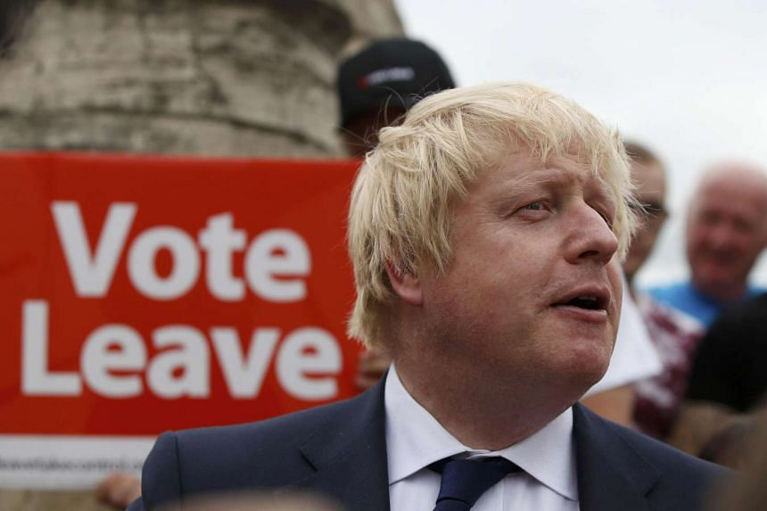 """Former London Mayor Boris Johnson speaks during a """"Vote Leave"""" rally in Selby, Britain, on June 22, 2016"""