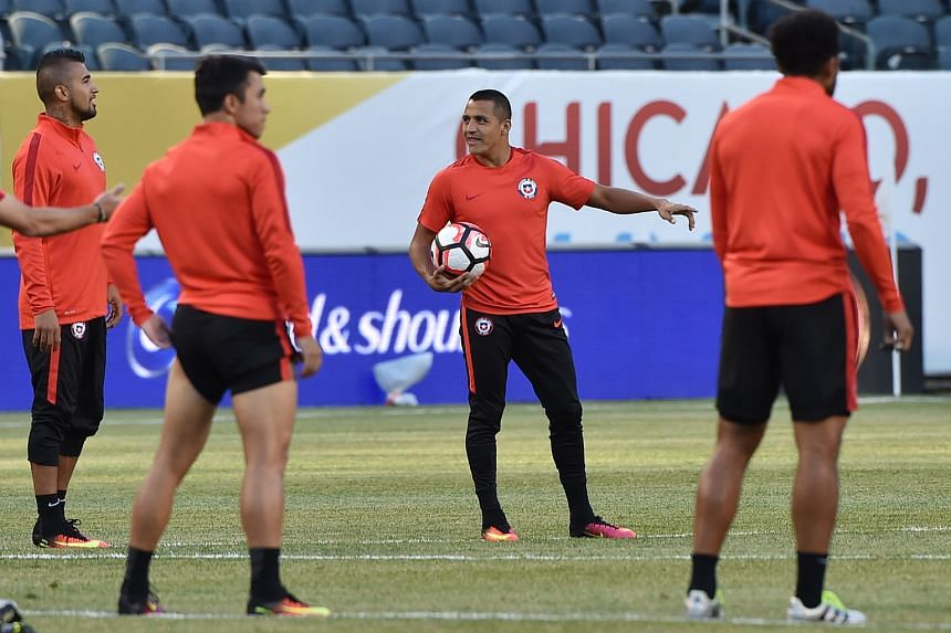 Chile's national team player Alexis Sanchez (centre) in a training session at Soldier Field in Chicago on June 21.
