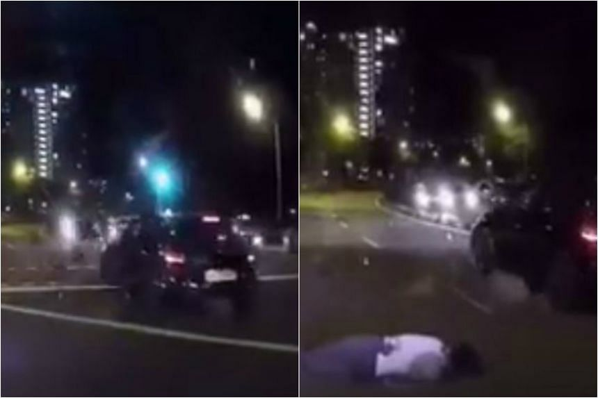 The cyclist was seen beating the red light at a pedestrian crossing when a car collided with him.
