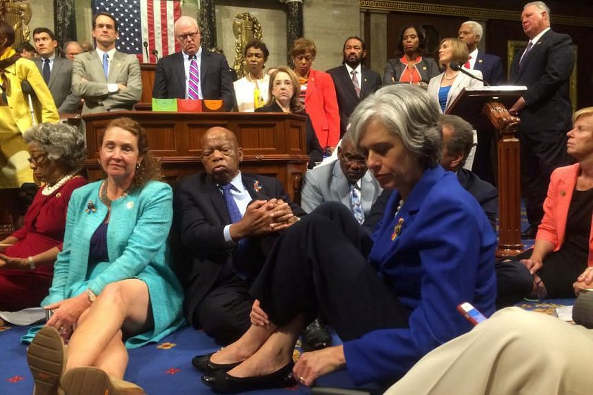 Democrats staged a sit-in protest on the floor of the US House of Representatives to discuss the current situation of a gun control.