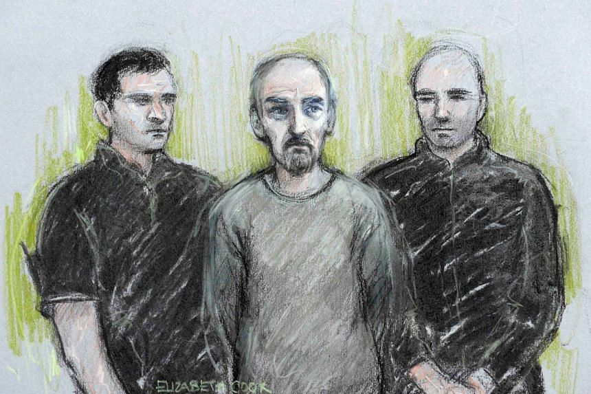 A court artist sketch shows Thomas Mair (centre) appearing at Westminster Magistrates' Court in London, on June 18, 2016.