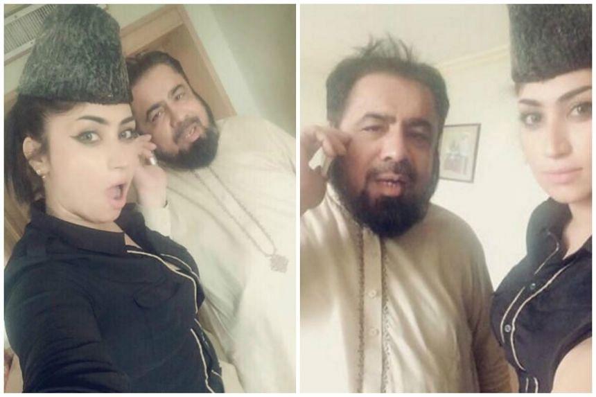 Mufti Abdul Qavi posing for selfies with social media starlet Qandeel Baloch.