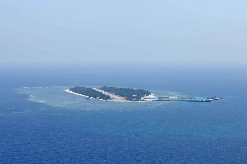 An aerial photo of Itu Aba, which the Taiwanese call Taiping, at the South China Sea, on March 23.