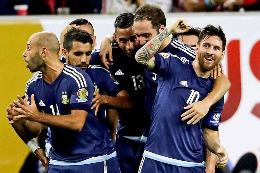 Above: Messi's goal was his 55th international goal, helping him surpass Gabriel Batistuta as his country's all-time leading scorer.