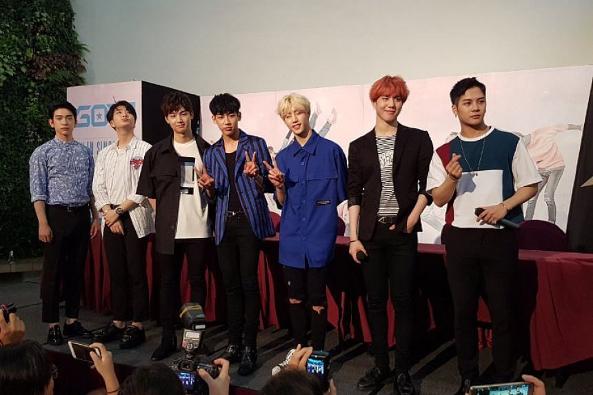Members of Korean boyband Got7 at a press conference at City Square Mall on June 24.