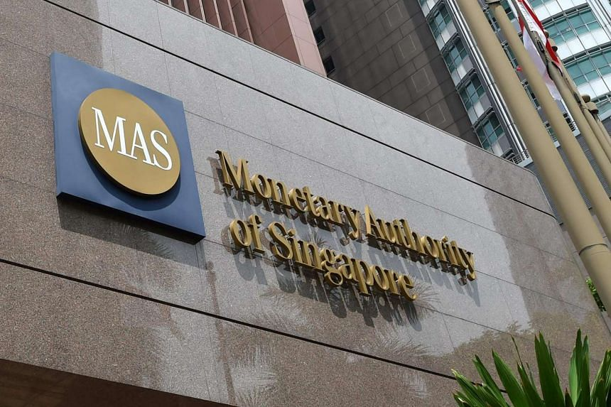 The logo of the Monetary Authority of Singapore (MAS) on April 14, 2016.