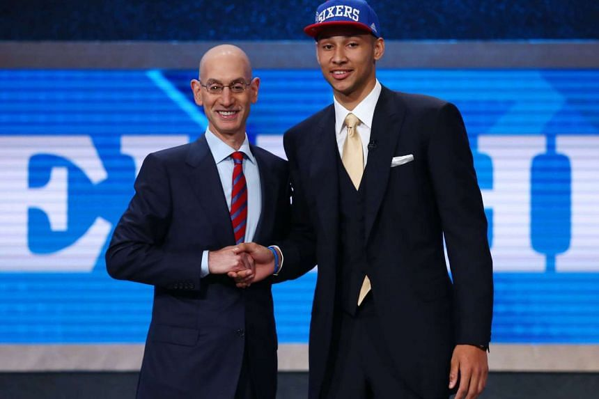 Ben Simmons (right) with NBA commissioner Adam Silver after being selected as the number one overall pick to the Philadelphia 76ers.