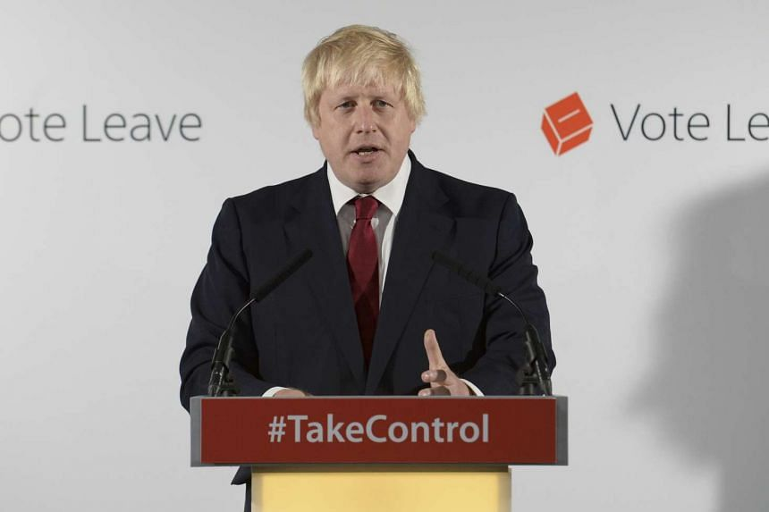 Vote Leave campaign leader Boris Johnson speaks at the group's headquarters in London on June 24, 2016.