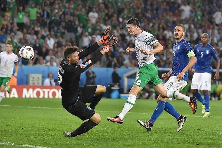 Midfielder Robbie Brady heading past Italy goalkeeper Salvatore Sirigu to seal Ireland's 1-0 win in Lille. Manager Martin O'Neill says his men need a similarly strong performance to have any chance against hosts France in the round of 16.