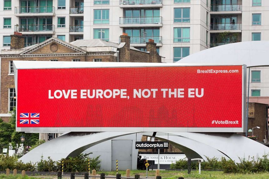 An advertisement campaigning for Britain to leave the EU sits on a billboard in Vauxhall, London.