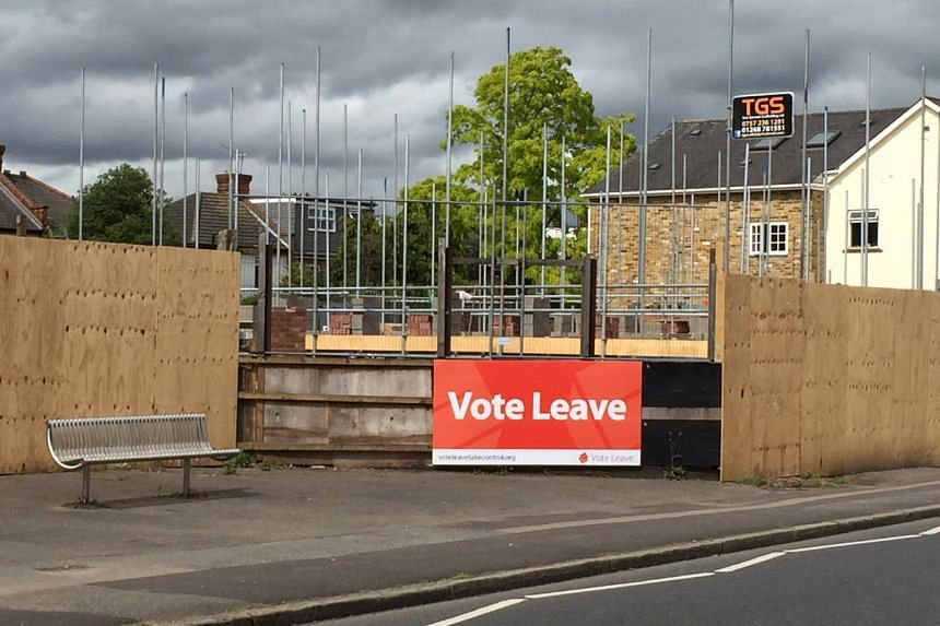 A sign urging Britons to vote to leave the EU, in Havering, Britain.