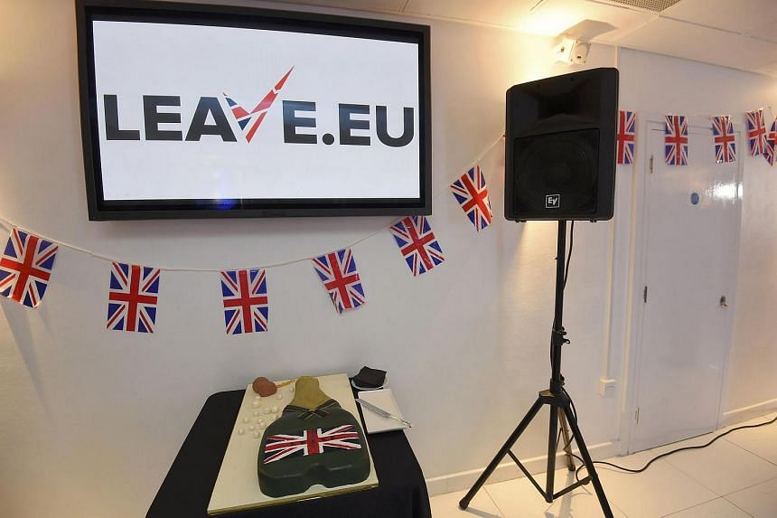 A cake waits to be cut at a Leave.eu party after polling stations closed in the Referendum on the European Union in London.