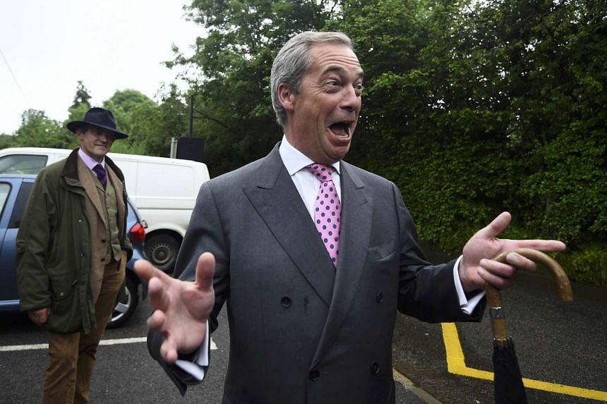 Nigel Farage arrives to vote in the EU referendum, at a polling station in Biggin Hill, Britain June 23, 2016.
