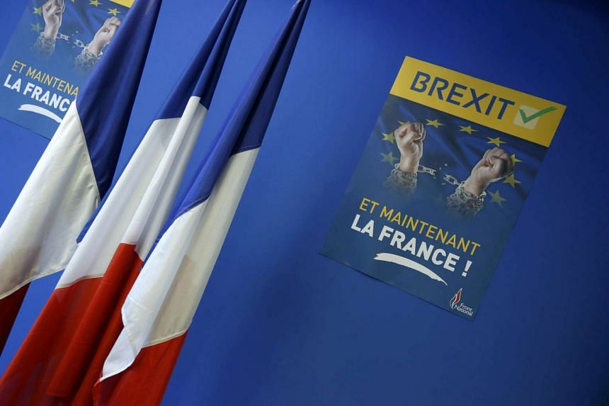 "A poster which reads ""Brexit, And now France"" is seen at the France's far-right National Front political party headquarters in Nanterre near Paris on June 24, 2016."