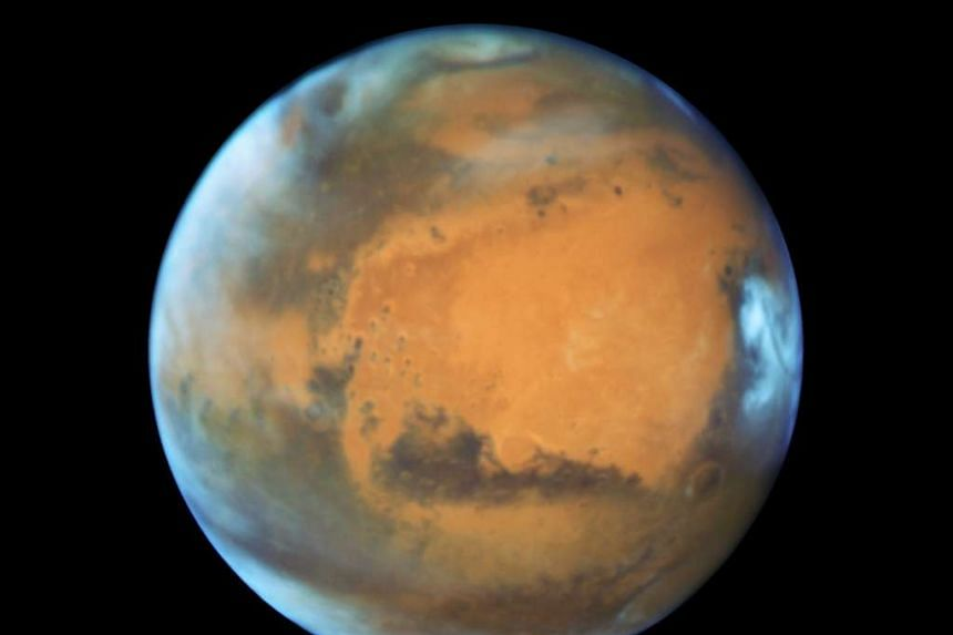 A Nasa Hubble Space Telescope view of Mars taken on May 12, 2016, when it was 80 million km from Earth.