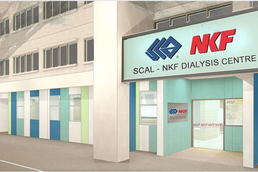 A perspective drawing of the new Scal- NKF Dialysis Centre at Yishun Street 81.