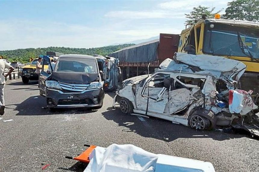 Two killed in 16-vehicle crash on Malaysia's North-South Expressway