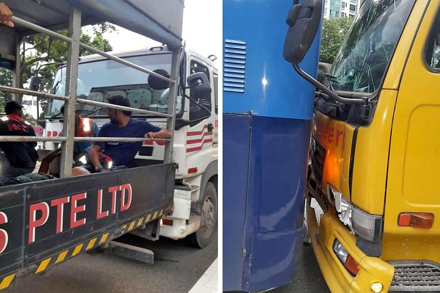 Two lorries and a bus were involved in an accident on the AYE yesterday morning, resulting in 17 lorry passengers suffering minor injuries.