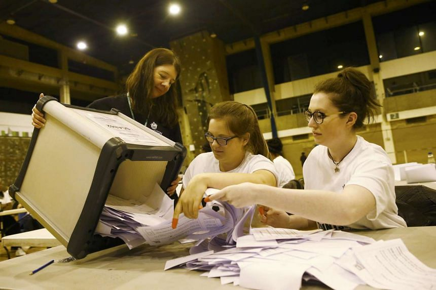Workers begin counting ballots after polling stations closed in the Referendum on the European Union in Islington, London, Britain, June 23, 2016.