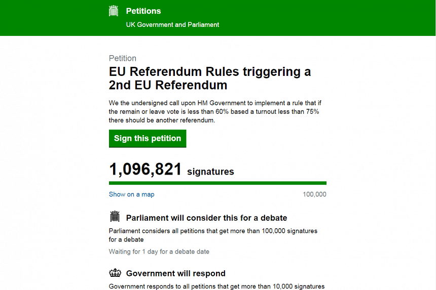 More than a million people have signed a petition calling for a second EU referendum.