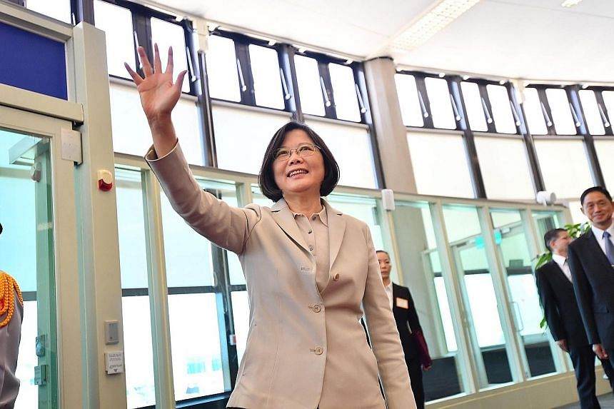 Taiwan's President Tsai Ing-wen departing Taoyuan International Airport in Taiwan yesterday on her first trip abroad since taking office last month. She will visit Panama and Paraguay.
