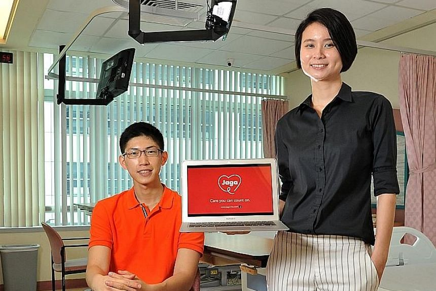 Jaga-Me founders Mr Koo and Ms Kuah, a trained nurse, set up the healthcare platform to give family caregivers access to nursing services for non-emergency medical situations and smoothen the transition from hospital to home.