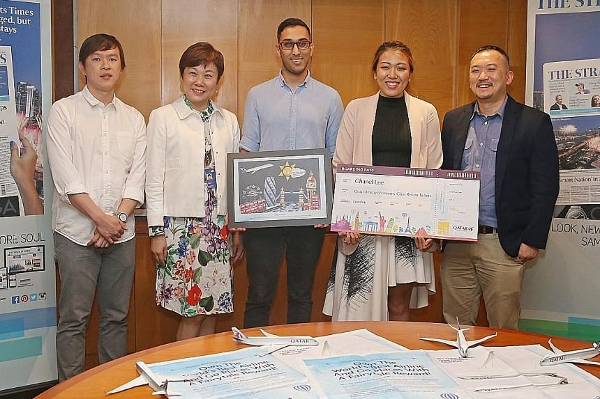 (From right) The Straits Times deputy editor Ignatius Low with grand prize winner Chanel Lee and her boyfriend, Mr Abbas Zafar, as well as SPH marketing chief Elsie Chua and Qatar Airways Singapore marketing officer Yew Jin Khoo at the prize-giving c