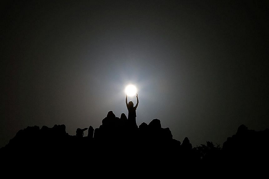 People celebrating the summer solstice at the Kokino megalithic observatory, near the city of Kumanovo in Macedonia, on Tuesday.