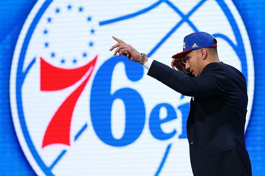 Louisiana State University forward Ben Simmons will be shooting hoops in 76ers colours next season after Philadelphia made him the first pick in the NBA draft.