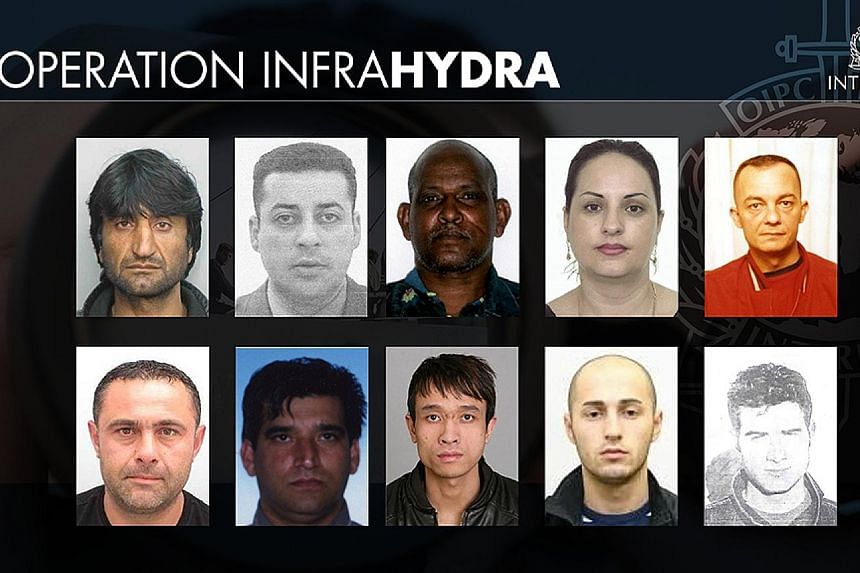 Ten people sought for being members of an organised crime group, for smuggling or for trafficking are shown on this handout picture released by Interpol.