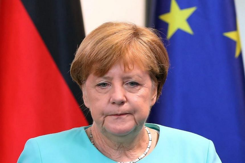 German Chancellor Angela Merkel delivering a statement on the results of Britain's EU referendum, in Berlin, on June 24.