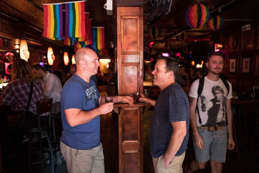 Todd Andrepont-Aycock and husband Martin Andrepont-Aycock at the Stonewall Inn on June 24, 2016 in New York City.